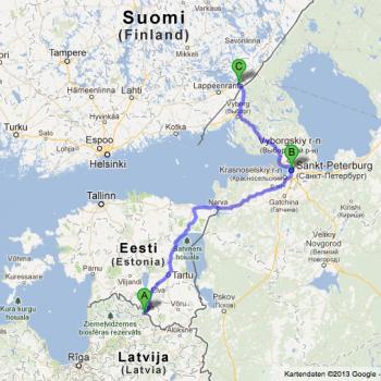 Route der ersten Reise zu Doppelstädten im Baltikum, Russland und Finnland