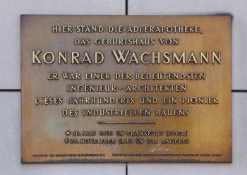 Erinnerungstafel für Konrad Wachsmann in Frankfurt (Oder). Foto: J.-H. Janßen, Wikipedia